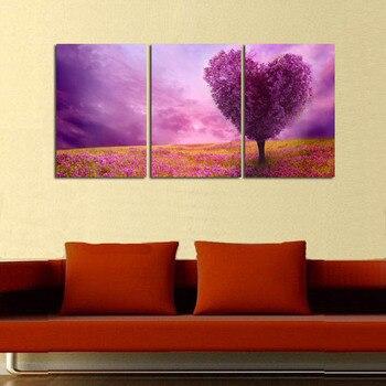 3 шт. Современная HD печать пейзаж картина маслом на кавнвас абстрактный фиолетовый романтический в форме сердца Дерево картина маслом домаш...