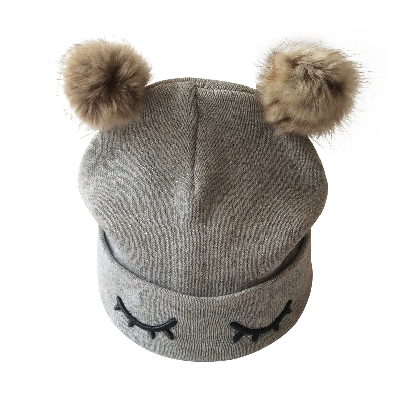 Partisig merk babymuts haak dubbele pompom hoed voor meisjes gebreide - Babykleding - Foto 4