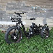 48V 1000W electric three wheeled snowmobile Electric three wheeled bicycle fat ebike 20 24inch wheel electric