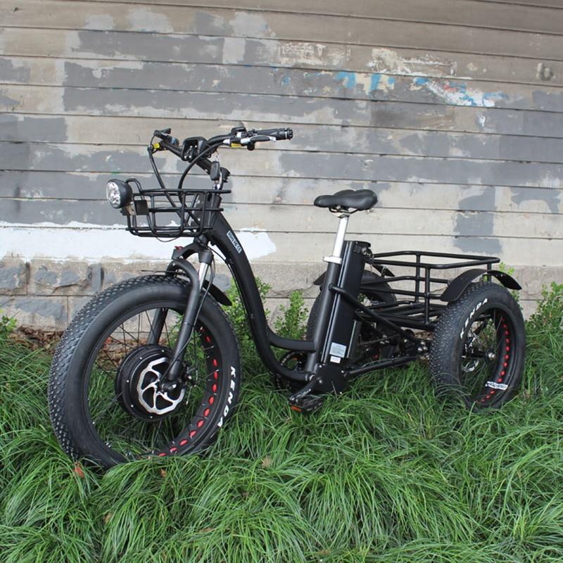 48V 1000W electric three wheeled snowmobile Electric three wheeled font b bicycle b font fat ebike