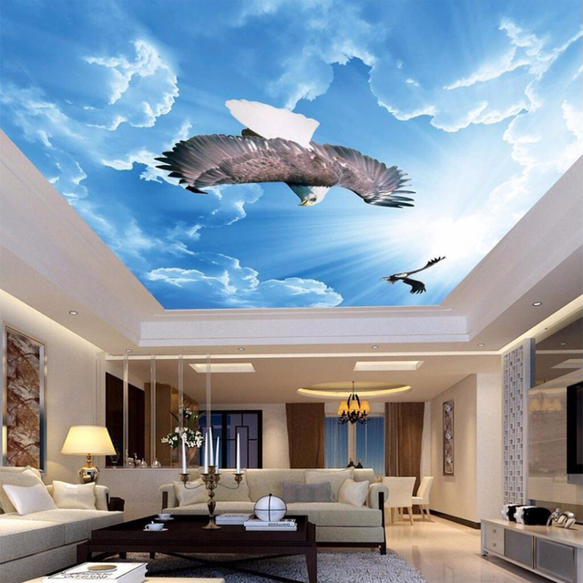 Customized Any Size Modern Painting Art Mural Blue Sky White Clouds Flying Eagle Living Room Bedroom