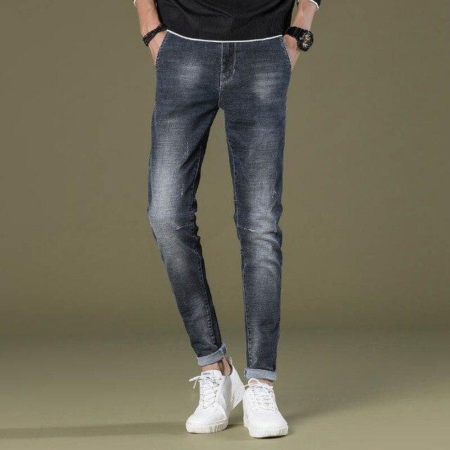 dd2c8d09c Pantalones Vaqueros Lavados de los hombres de Moda Gris Oscuro Pantalón de Mezclilla  Pantalones Slim Fit