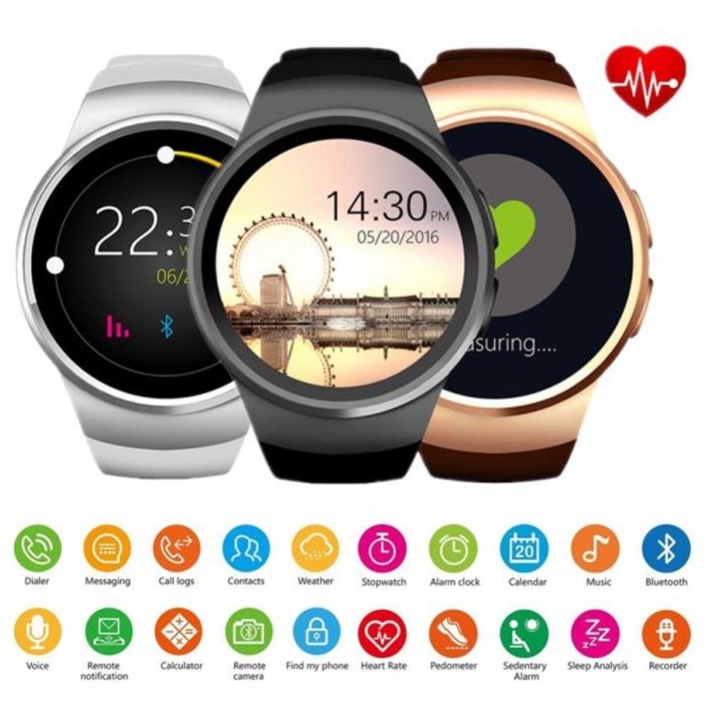 KW18 Bluetooth montre intelligente plein écran prise en charge SIM TF carte Smartwatch téléphone fréquence cardiaque pour Apple Gear S2 Huawei Xiaomi