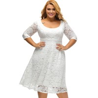 2017 Black White Midi Plus Size Lace Dress Xxxl Xxl Xl Fit And Flare Curvy Clothing