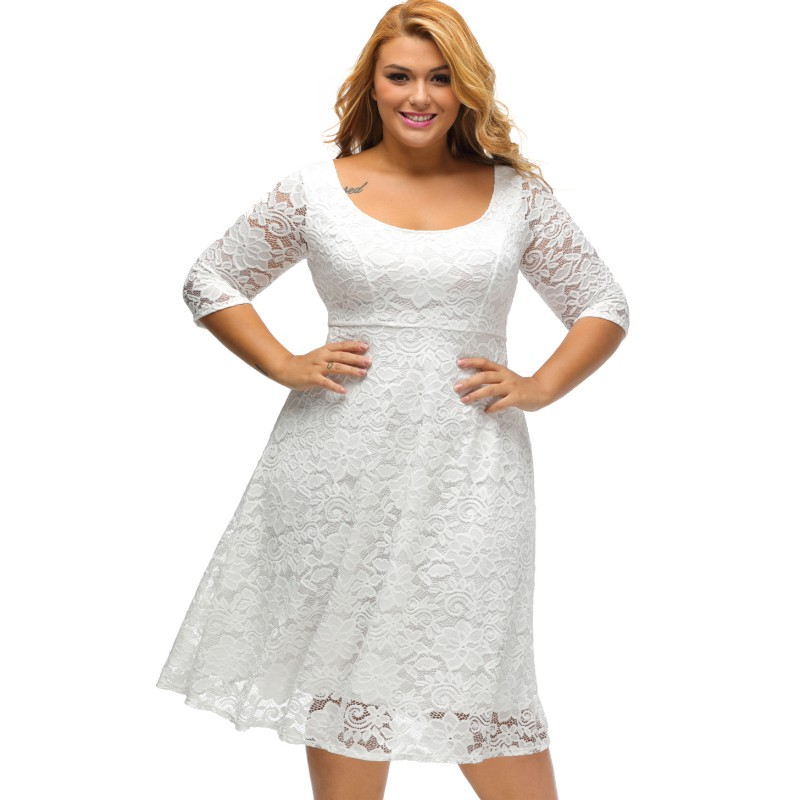 Sale 2017 Black White Girls Midi Big Plus Size Lace Womens Dress
