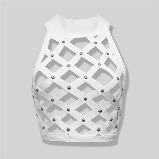 Topos de frete Grátis de Alta Qualidade Da Moda 2016 Branco Embelezado Bandagem Top Colheita Tanque