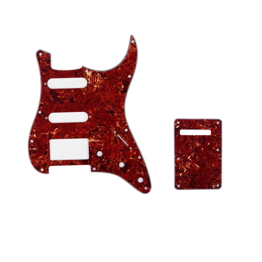 Musiclily HSS 11 Holes Strat Guitar Pickguard and BackPlate Set for Fender Stratocaster Strat ST Guitar Parts musiclily 4ply sss pickguard for fender standard stratocaster strat st guitar