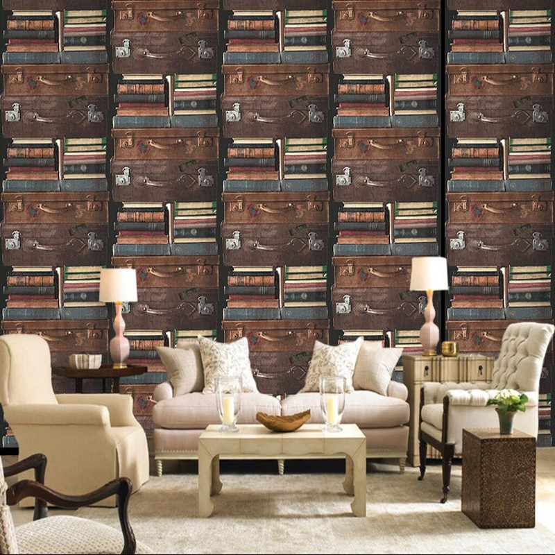free shipping american country retro wallpaper bookcase bookshelf classroom bedroom living room wallpaper muralschina