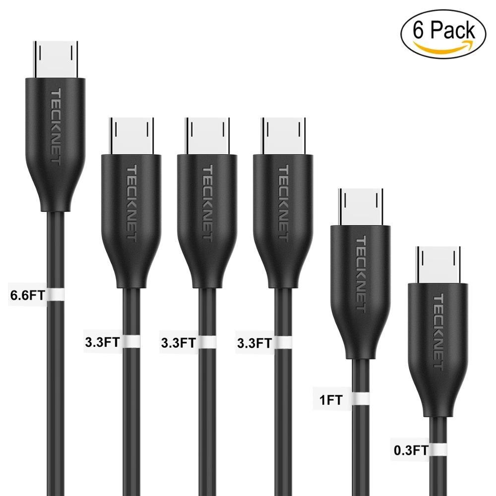 TeckNet Micro USB Cable Ultra Durable [6-Pack] v různých délkách (0,1 M, 0,3 M, 1 M X3 a 2 M) Vysokorychlostní synchronizace a kabel pro rychlé nabíjení