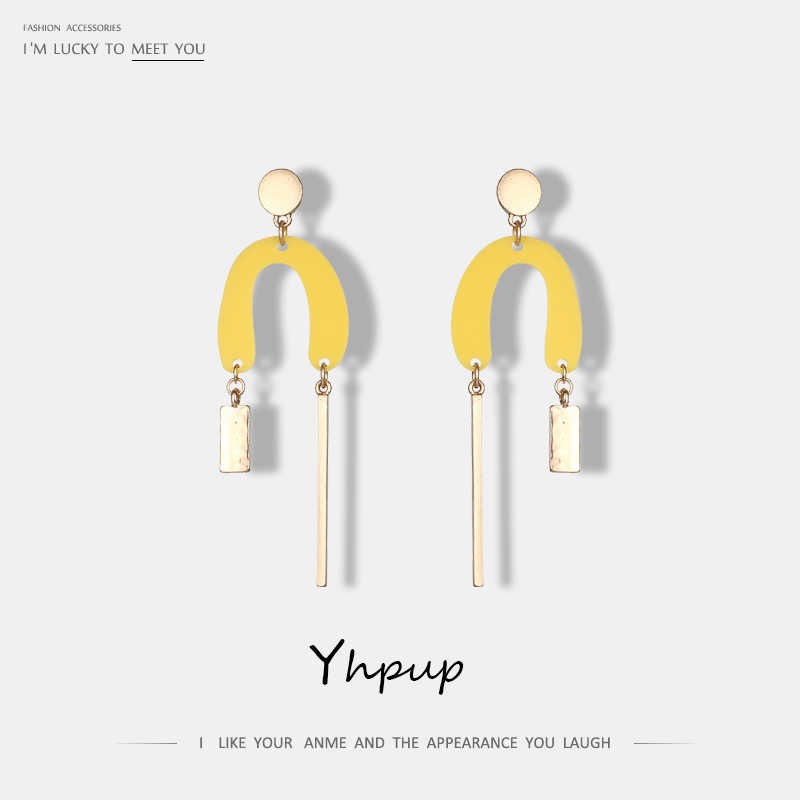 Yhpup 2019 New Trendy Concise U Shape Yellow Dangle Alloy Earrings For Women Statement Charm Temperament Earrings Jewelry