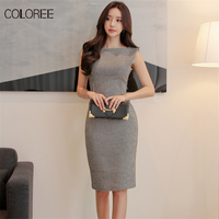 COLOREE 2018 Summer New Fashion Vintage Style Elegant Plaid Sleeveless Pencil Dress Womens Office Dress Work Wear Formal Dress