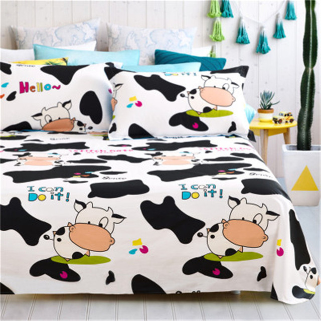 Cotton twill environmental printing and dyeing cartoon cow pattern