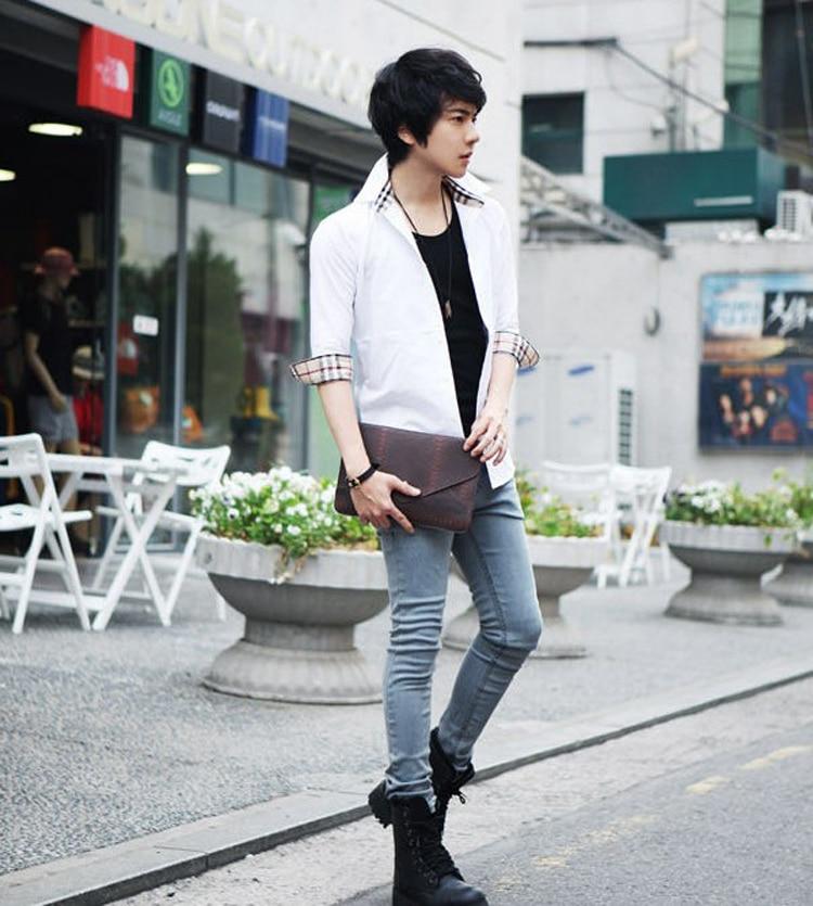 2015 Summer Style Men 39 S Korean Version Fashion Minimalist Style Cotton Solid Slim Square Collar