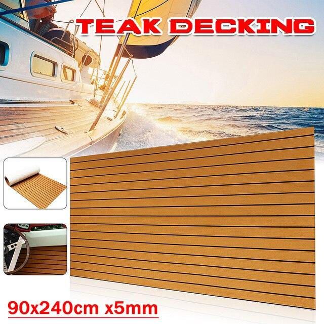 Audew 240cmx90cmx5mm Self-Adhesive Gold With Black Lines Marine Flooring Faux Teak