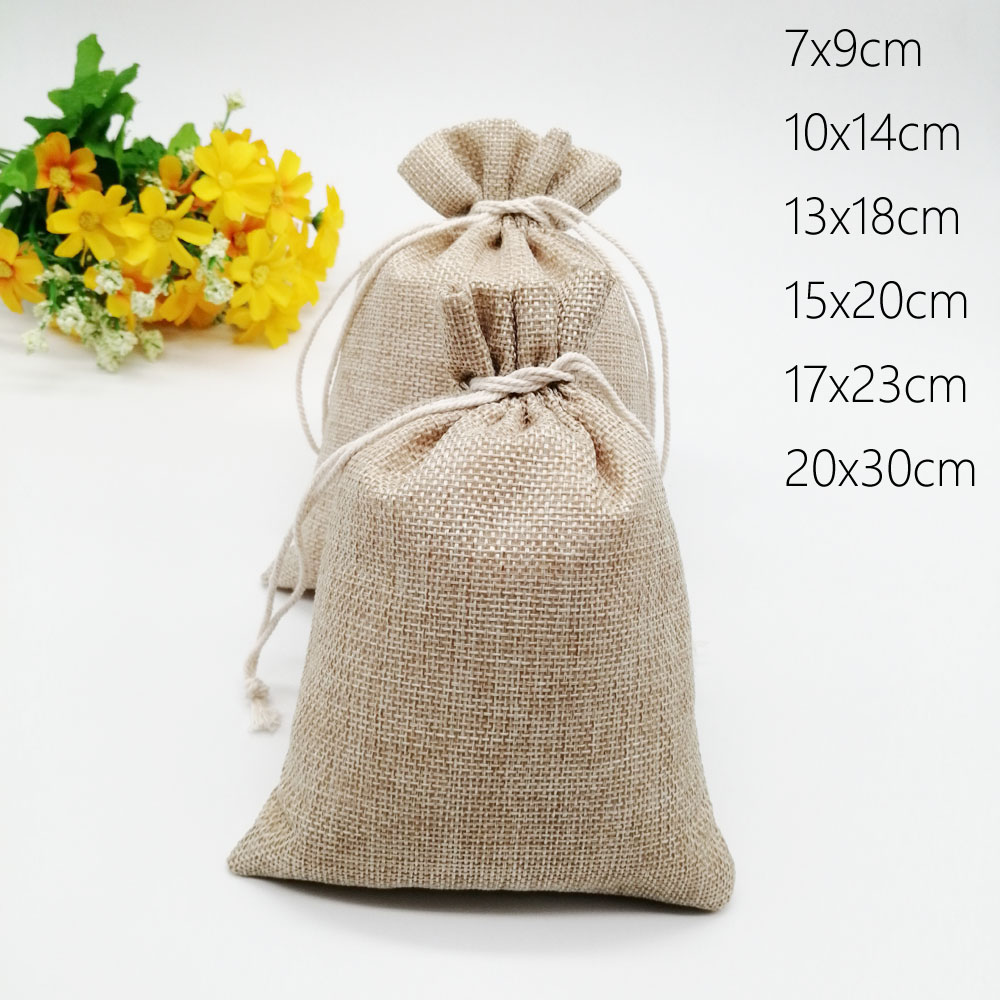 50pcs Burlap Jute Gift Bag Drawstring Gift Box Packaging Bags For Gift Bags With Handles Wedding/Christmas Candy Linen Bag Jute
