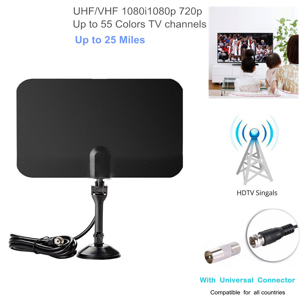 Razor Thin Flat Digital Indoor TV HDTV UHF VHF 1080P Antenna 55 Color Channels