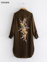 VOGUEIN New Womens Spring 3 4 Sleeve Floral Embroidered Back Long Shirt Blouse Wholesale
