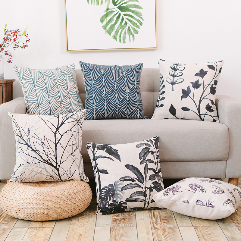 Ink color plant cushion cover tree chair chaise throw for Chaise cushion cover