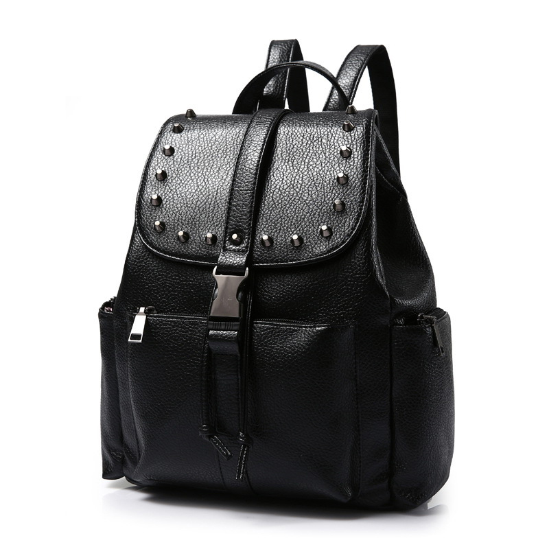 New Fashion Women Waterproof PU Leather Rivet Backpack Women s Backpacks for Teenage Girls Ladies Bags