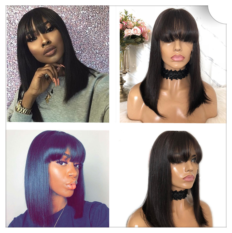 Image 3 - Ombre Red 99J Bob Wigs With Bangs 13x6 Lace Front Human Hair Wigs Indian Remy Hair Straight Full For Women With Bang Black Hair-in Lace Front Wigs from Hair Extensions & Wigs