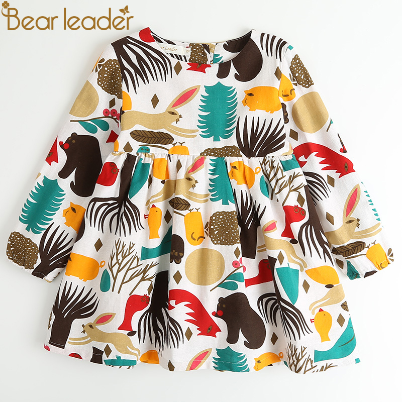 Bear Leader Girls Dress New Spring Casual Style Flickor Kläder Långärmad Cartoon Forest Animals Graffiti för Kids Dresses