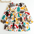 Bear Leader Girls Dress New Spring Casual Style Girls Clothes Long Sleeve Cartoon Forest Animals Graffiti for Kids Dresses