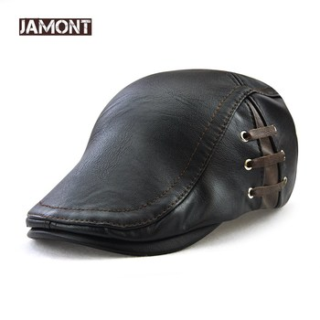 JAMONT Fashion PU Leather Caps Windproof Man Beret Bandage Hat Spring Flat Cap Casquette Warm Side Strap Boina Masculina svadilfari classic beret caps men warm genuine leather caps ivy windproof duckbill hat burgundy winter luxury brand flat hats