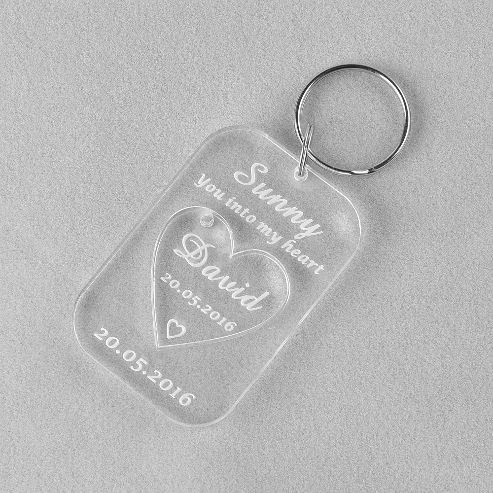 10 Piece Clear Personalized Laser Engraved Keychain Love Heart ...