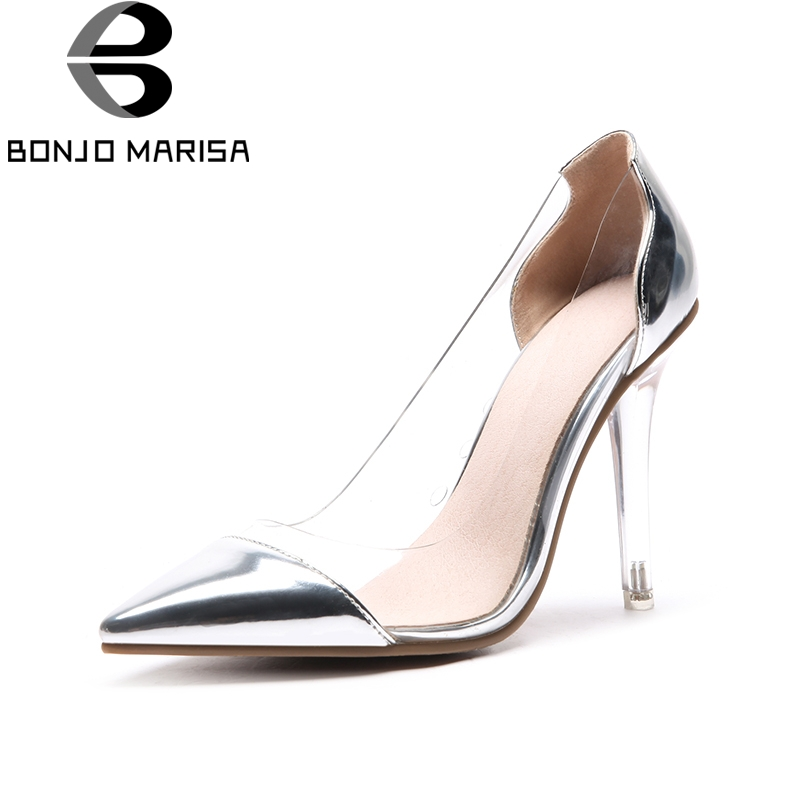 BONJOMARISA 2018 Fashion Plus Size 33-48 Slip On Pointed Toe Women Shoes Thin High Heels Women Pumps Shoes Woman стоимость