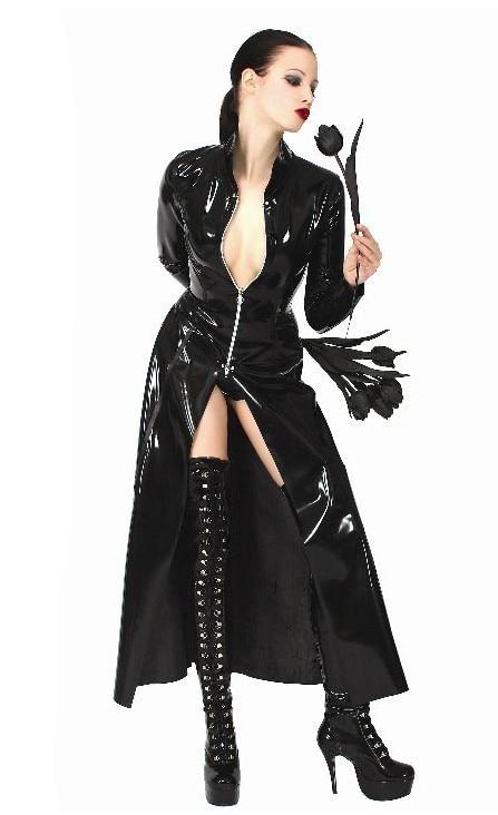 2018 New Women Patent Leather Long Coat Black Pvc Bodysuit
