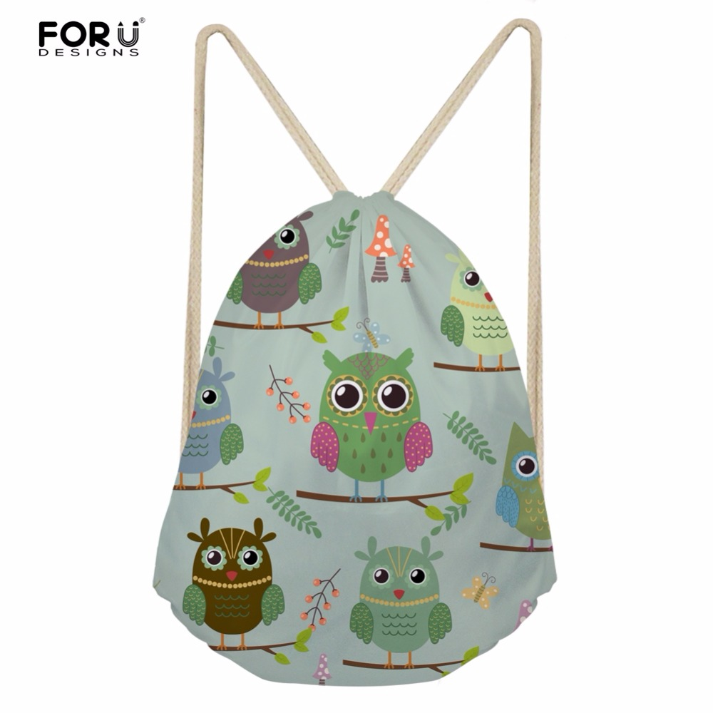 FORUDESIGNS Lovely Owl Baby Girls School Bags Mini Women Travel Drawstring Backpacks Cartoon Animal Kids Canvas String Bagpack