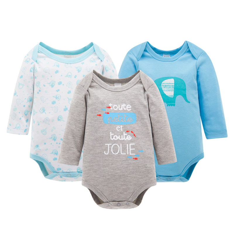 3Pcs Baby Girl Clothes Spring Baby Rompers Cotton Baby Boy Clothing Set 2017 Newborn Baby Clothes Roupas Bebe Infant Jumpsuits