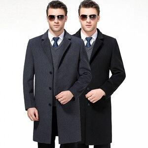 Image 2 - Mu יואן יאנג X ארוך מעילים מקרית Mens צמר תערובת חליפת צווארון מעילי מלא חורף עבור זכר צמר ארוך מעיל קשמיר 3XL 4XL