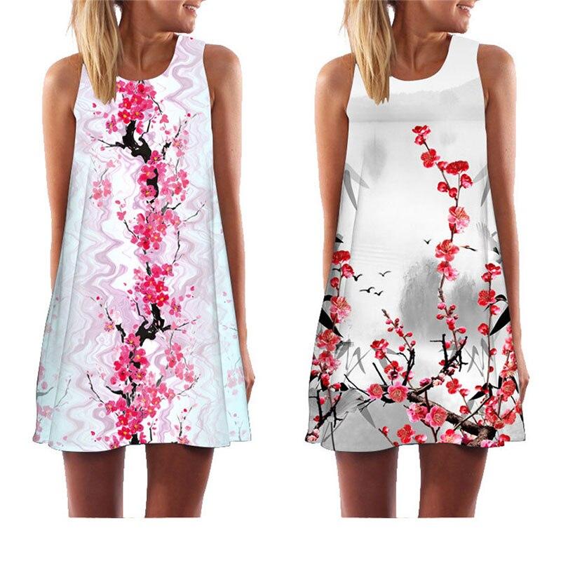 Chuqian Women Sleeveless Dress 2019 Summer New Arrival Casual Loose Beach Holiday Dress Floral Print Tank Dress Above Knee
