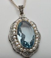 Free shipping 2015 fashion Edward authentic explosion in 1910 10.1 ct aquamarine silver filigree natural pearl women's pendant