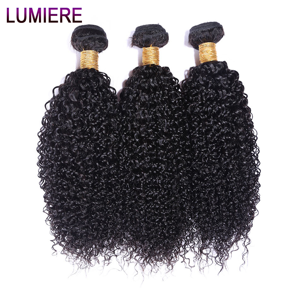 Lumiere Hair Burmese Kinky Curly Hair Extension 100% Non-Remy Human Hair Weaving 3 Bundles Machine Double Weft Nature Color ...