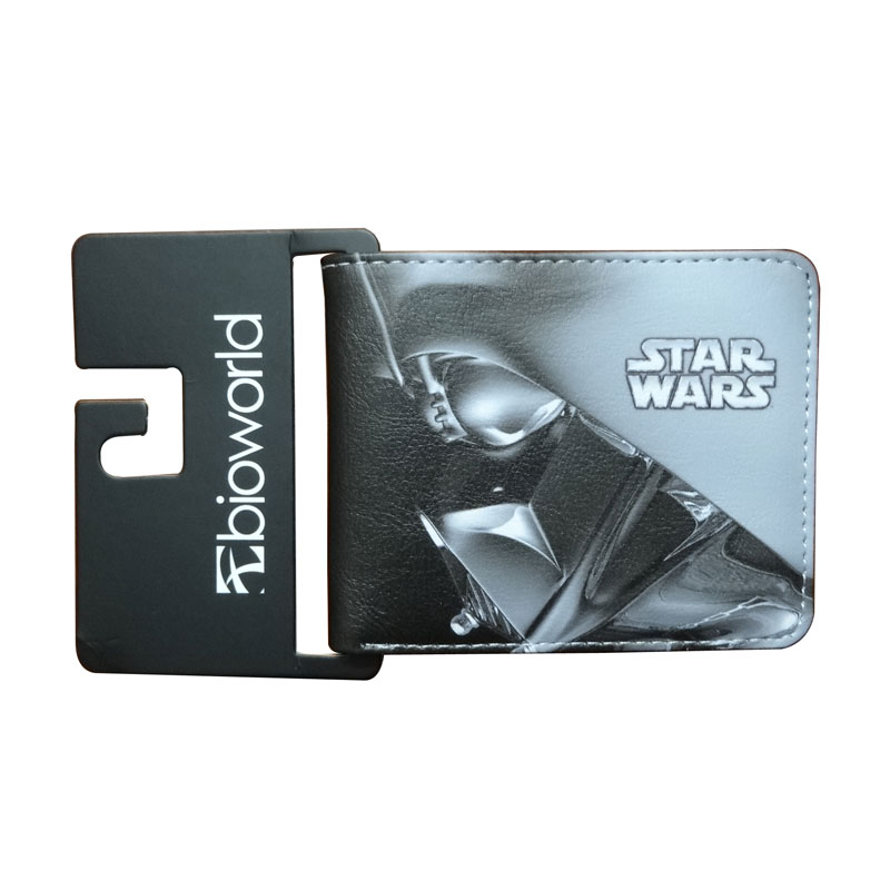 цена на Fashion Men Women Wallets Movie Anime Star Wars Print Leather Purse carteira Dollar Money Bags Gift Kids Short Wallet