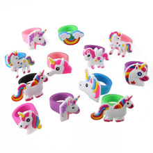 10pcs Cartoon Unicorn Rubber Rings For Girls Children Rainbow Finger Jewelry Birthday Party Gifts Supplies