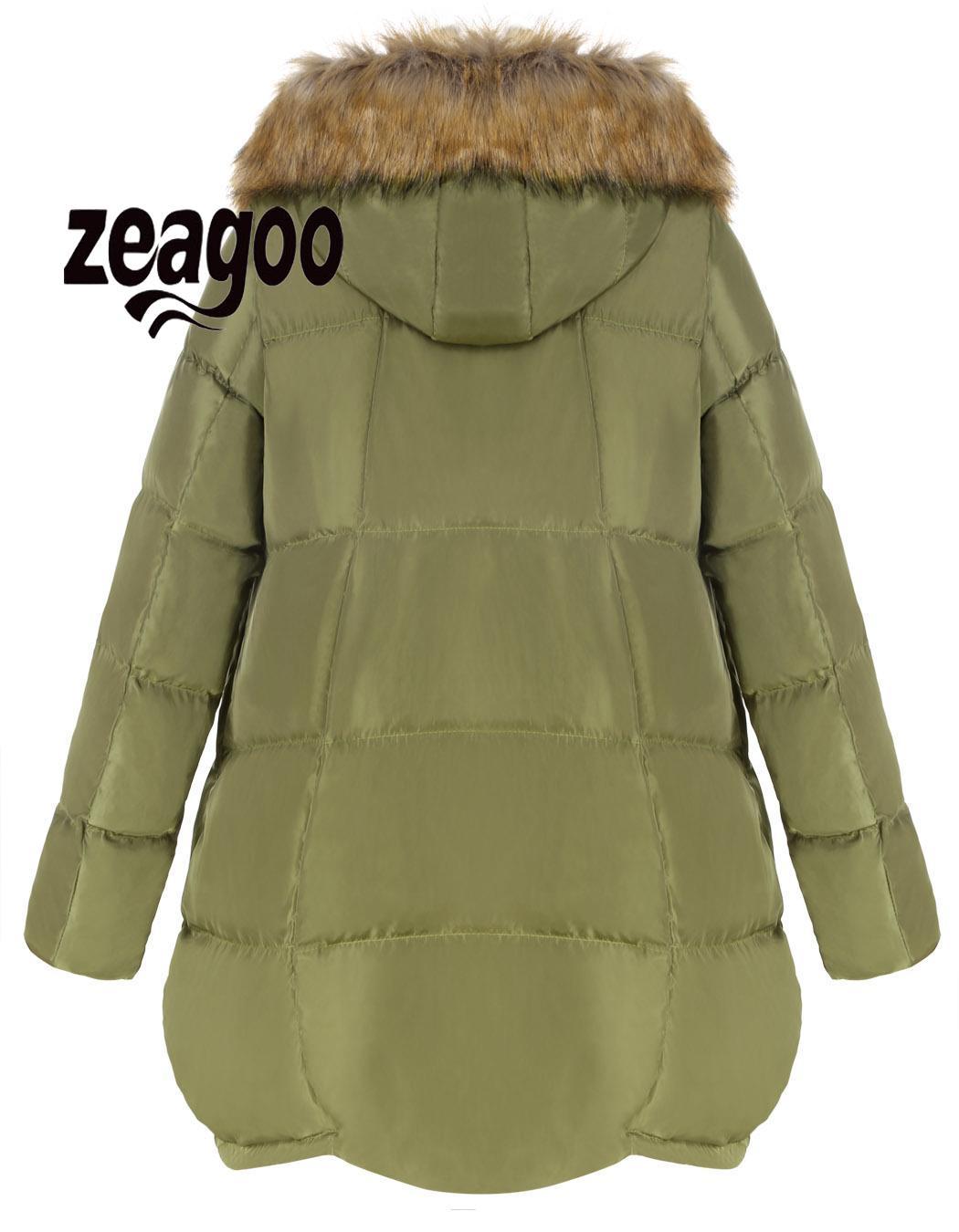 zeagoo Jacket Women Fashion Thick Fur Hooded Collar Long Sleeve Multi Pocket Meaneor Outwear Parka