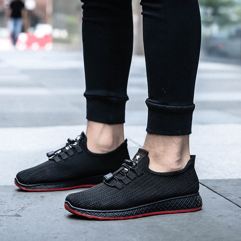 SHUJIN Male Shoes Sneakers Mens Mesh Casual Lace-Up Zapatos Breathable