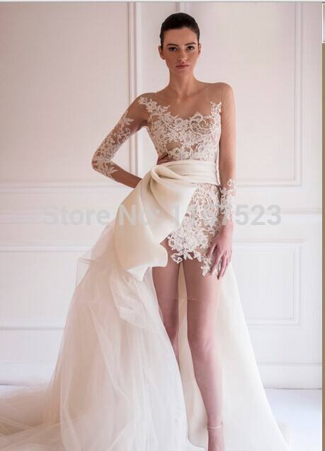 Short in front long in back wedding dresses