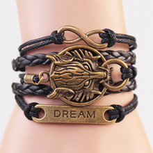 Multilayer Leather Bracelets Men's Retro Punk Casual Bracelet Jewelry Ancient Gold Color Lion Pendant Accessories for Women B001