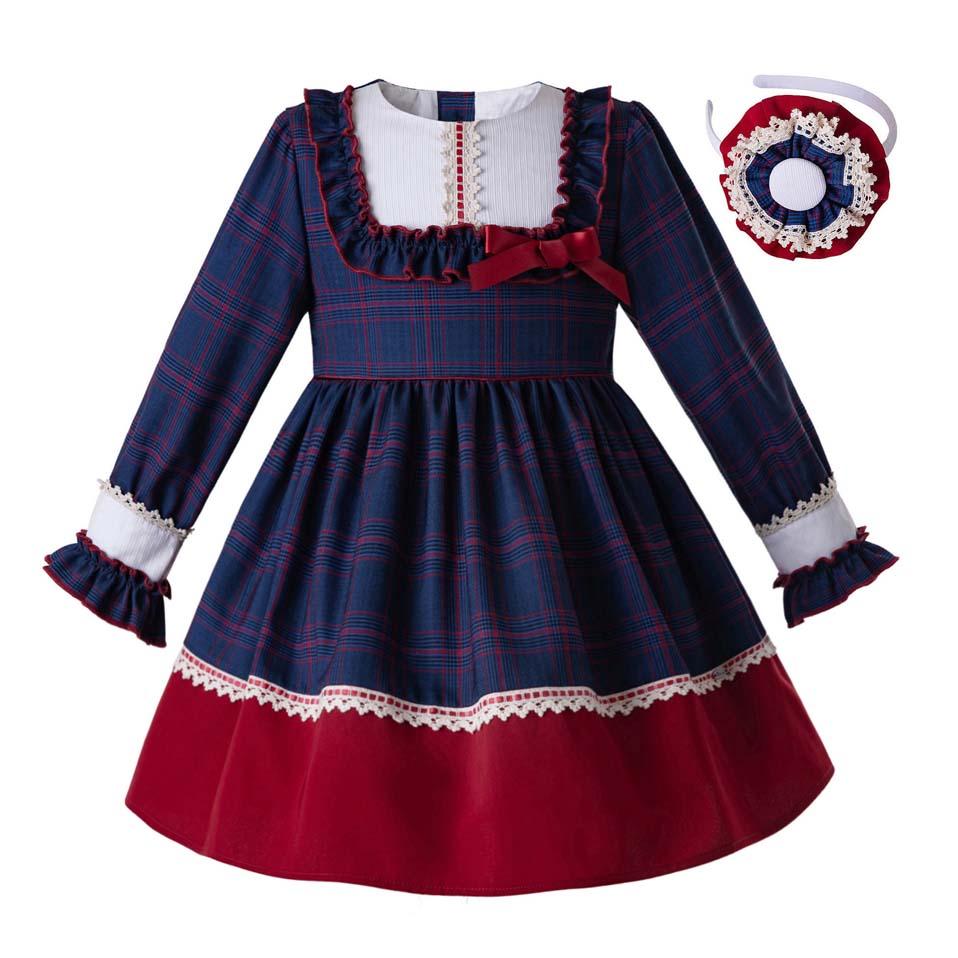 Pettigirl 2019 New Dark Blue Party Dress For Girls Elegant Princess Dress With Back Big Bows