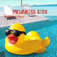 3D Duck Float Row Inflatable Swimming Ring Float Row Water Floating Bed Swimming Toys For Adults Kids Swimming Pool Floating Bed