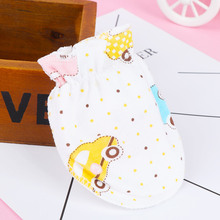 Pure Cotton Baby Glove Newborn Mitts Cartoon Pattern Face Anti Grasping Breathable And Warm Infant Gloves