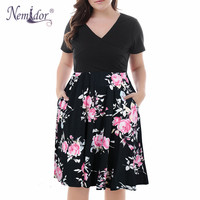 Nemidor Women Vintage Short Sleeve Casual Print Summer A line Dress V neck Plus Size 8XL 9XL Party Midi Swing Dress With Pockets