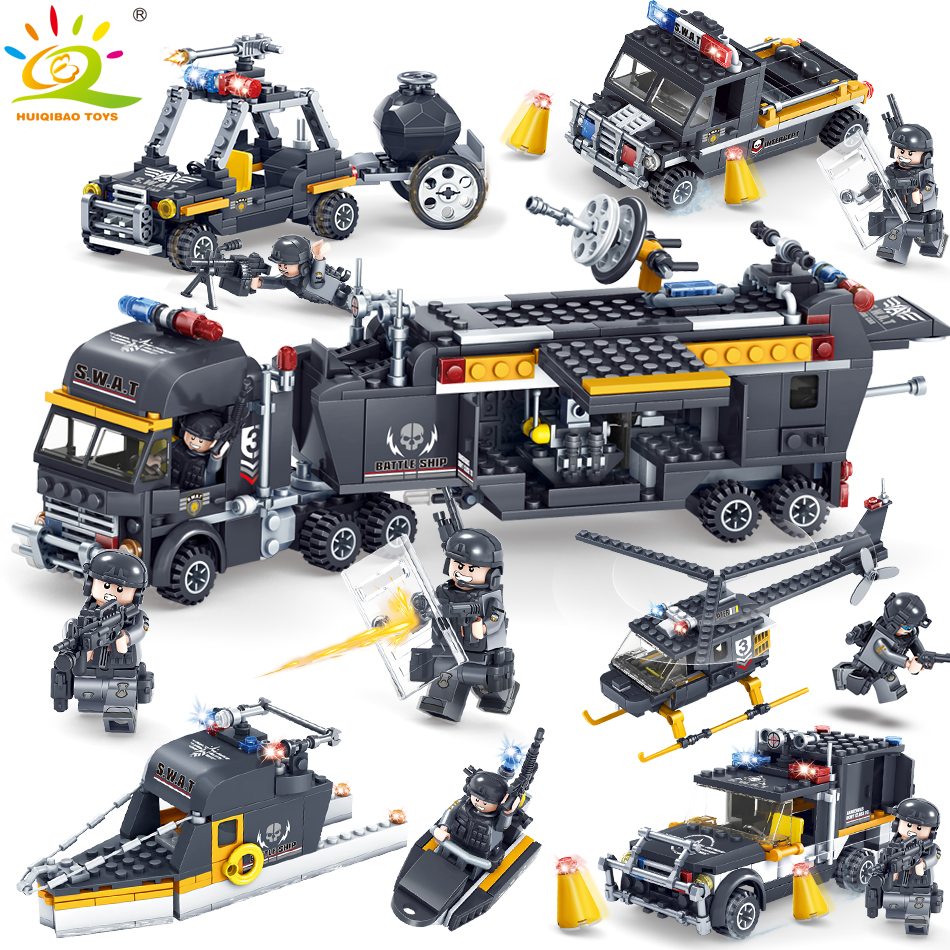 Military SWAT soldier Building Blocks Compatible legoed army weapon police Figures Helicopter truck Enlighten Toys for Children цена