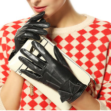 2014 winter leather gloves fashion women Genuine wrist 3 colors warm sheepskin