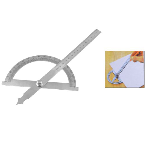 Wholesale Gray StaInless Steel Rotating 180 Degree Mesurement Protractor Metric 15cm Ruler