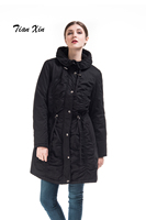 Infron IN FRONT Women Hooded Warm Winter Faux Fur Lined Drawstring Black Parkas Long Coat